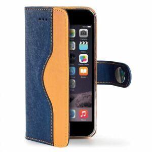 "Celly Apple iPhone 6/6s Plus 5.5"" Faux Leather Stylish Wallet Case - Orange/Blue"