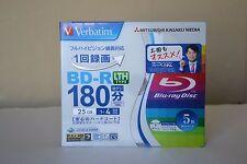 Verbatim Mitsubishi 25GB 4x Speed BD-R Blu-ray LTH TYPE Recordable Disk 5 discs!