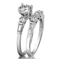 2pcs/set Women 925 Silver Wedding Engagement Rings White Sapphire Ring Size 6-10