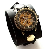 Black Leather Watch Wrist band Bracelet Steampunk GOTHIC-Mechanical (automatic)
