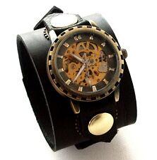 Black Leather Watch Wrist band Bracelet Steampunk GOTHIC-Mechanical (automatic)