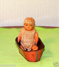 Antique Vintage Old Celluloid Dollhouse Doll House Baby Metal Bathtub Ad916139