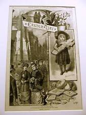 EASTER SUNDAY FIFTH AVENUE NYC OFFERING 1883 Antique Art Print Matted