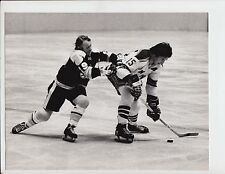 JOHN MCKENZIE CHECKS JIM NIELSON BRUINS VS RANGERS ORIGINAL 8X10 PHOTO