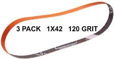 Norton SG Blaze Plus-1x42-120 Grit Ceramic Belts 3 Pk - Long Lasting Brand New!