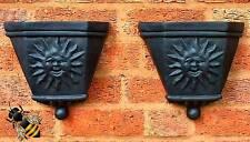 2 Garden Flower Planter Wall Fence Rain Water Hopper Sun Face Tub Pot New