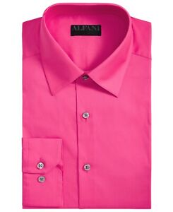 Alfani Mens Dress Shirt Hot Pink Size XL 17-17 1/2 Slim Fit Button Front $60 073