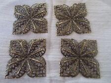4 x square metal flower embellishments , anitque bronze colour, 3.6cm x 3.6cm