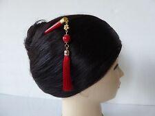 Japanese Kanzashi Hair Stick w/ Red Tassel & Bead Design KUMI Hair Accessory