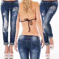 jeans donna strech skinny stampa argento brillante strass VITA REGOLARE NUOVO