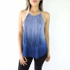 American Eagle Soft & Sexy Ombre Fringe Tank in Blue Size S