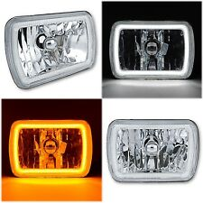 "7x6"" Switchback White LED Halo DRL Amber Turn Signal Angel Eye H4 Headlight Pair"