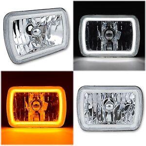 "7x6"" Switchback White LED Halo DRL Amber Turn Signal Angel Eye H4 Headlight Pair"