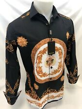 Mens PREMIERE Long Sleeve Button Down Dress Shirt BLACK GOLD LEAF ABSTRACT 330