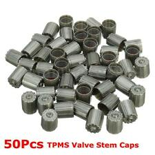 50pcs ABS Top TPMS Tire Valve Stem Caps Cover Kit Gray For Car Truck Motorcycle