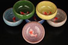 6 Set Ice Crack Porcelain Unique Fish Bowl Tea Cups Chinese