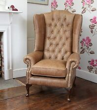 High Back Chesterfield Queen Anne Wing Chair in Vintage Tan Leather