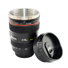 Canon Style Camera Lens Tea Coffee Cup Mug Stainless Steel Thermos Lined & Lid