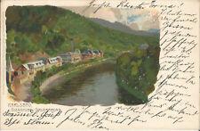 Karlsbad, Giesshübel - Sauerbrunn, Panorama, alte Litho-Ansichtskarte um 1900