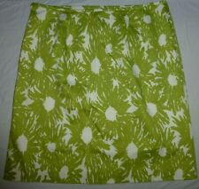 Talbots Stretch Lime Green & White Floral Pattern Skirt 14