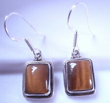 Tiger Eye Rectangles 925 Sterling Silver Dangle Earrings Corona Sun Jewelry