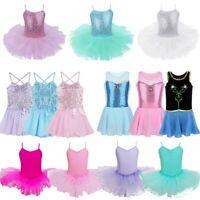 Kids Girls Ballet Leotard Tutu Dance Dress Sequins Ballerina Costumes Dancewear