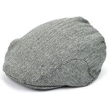 Flat Cap Hat Unisex Mens Peak Lightweight Wool Country Herringbone