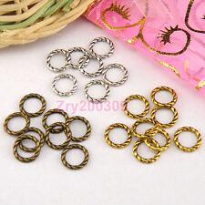 150Pcs Tibetan Silver,Antiqued Gold,Bronze Twist Ring Links Connectors M1354