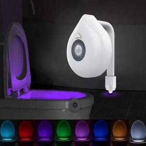 8 Colors LED Toilet Night Light Automatic Human Motion Sensor Seat Bowl Bathroom