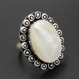 925 Silver Plated Mother Of Pearl Handmade Ring Size 8.25 US Jewelry RJ176-11