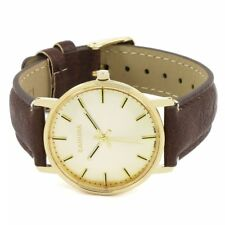 Kahuna Women's Quartz Watch with White Dial Analogue Display and Brown PU Strap