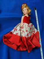 """1950s Storybook Doll 7"""" Hard Plastic VTG Jointed Arms Red Heart Arrow Dress"""