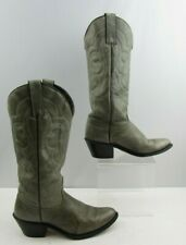 Ladies 1980'S Kenny Rogers Gray Leather western Cowgirl Boots Size : 6.5 M