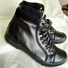 NWOB HELIX Mens Kohl's Black Textile Leather Lined Ankle Boots Size 9 M
