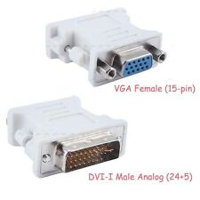 White DVI-I Male (24+5 Pin) to VGA Female (15-pin) Connector Adapter Dual Link