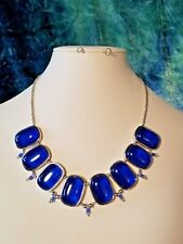 Royal Blue Oval Beaded Statement Collar Necklace.   Handcrafted A~K~N Design