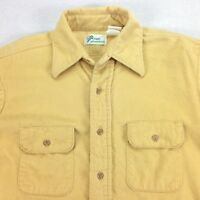 vtg 70s 80's Nicely Faded Chamois Camp Work Shirt Mens MEDIUM Union Made in USA