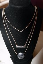 Gold Tone 3 Row Black Marbleized Bar and Circle Layering Necklace NWT $32