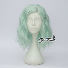35CM Mint Green Medium Lolita Curly Women Party Hair Cosplay Wig Heat Resistant