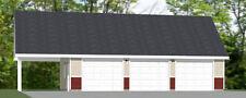 40x24 3-Car Garage with Carport -- 1,493 sq ft -- PDF Floor Plan -- Model 8P