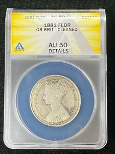 1881 Great Britain Florin ANACS AU50 Details About Uncirculated Gothic Victoria