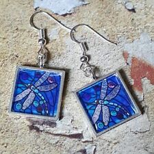 Unique DRAGONFLY EARRINGS handmade STAINED GLASS blue NATURE insect BRITISH