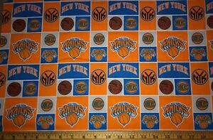 NEW NBA NEW YORK KNICKS COTTON Fabric 1/4 yard= 9inX44 in LOGO DIY MASK HOOPS !
