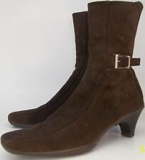 "Prada Brown Suede EU37 US7 Square Toe 2 1/4"" heel Ankle Boot Zip Made in Italy"