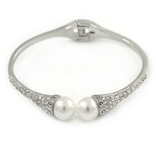 Delicate Crystal Simulated Glass Pearl Bead Hinged Bangle Bracelet In Rhodium Pl