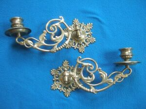 PAIR BRASS PIANO SCONCES / CANDLE HOLDERS with brackets