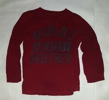 "Carter's Boys Long Sleeve Shirt ""World's Greatest Brother"" Size 4T"