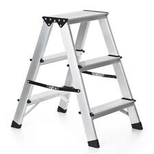 Folding 3 Step Aluminum Ladder Folding Platform Work Stool Non-Slip Top X9C6