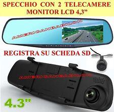 """SPECCHIETTO RETROVISORE 2 TELECAMERE FULL HD 1080P 4.3""""LCD AUTO CAM DVR REGISTRA"""