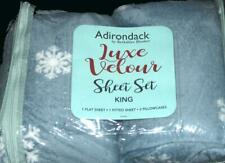 4-Pc Adirondack Berkshire White Snowflakes Blue Velour Plush KING Sheet Set NIP
